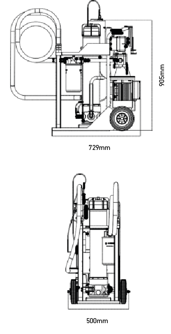 Mobile Fuel Conditioning / Filtration Trolley Dimensions